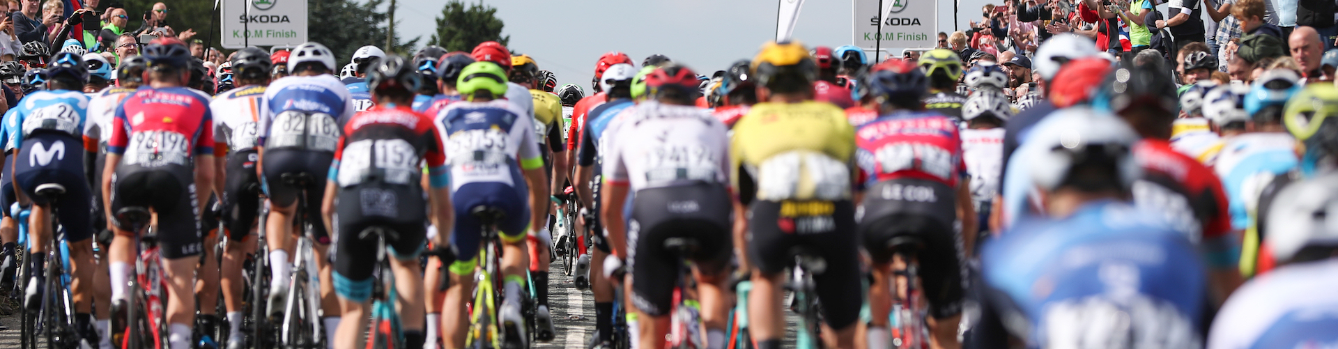 Cyclists from behind, mid race during the Tour of Britain.